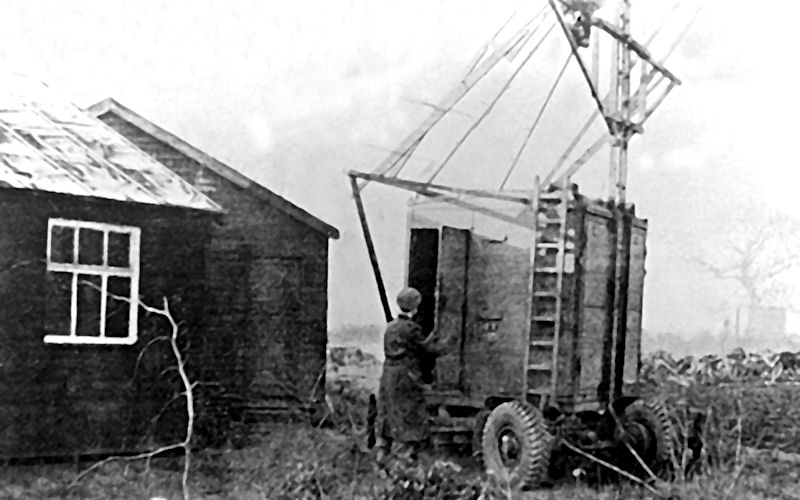 A black and white photograph The Botany Huts at Jodrell Bank and the first radar systems used on the site in December 1945.
