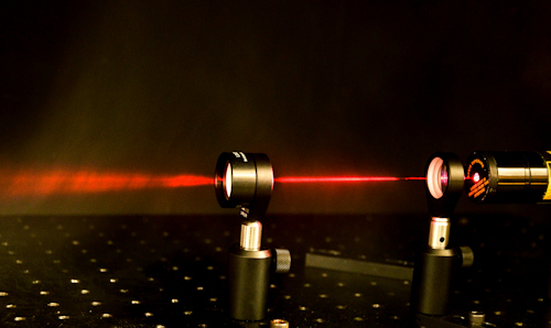 A red laser beam