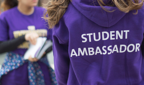 Back view of a student ambassador