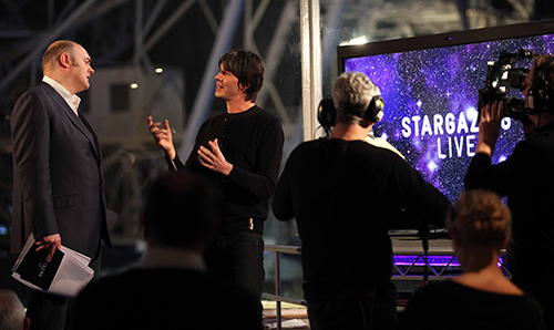 Brian Cox and Dara O Briain presenting Stargazing Live at Jodrell Bank